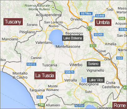 A map of La Tuscia